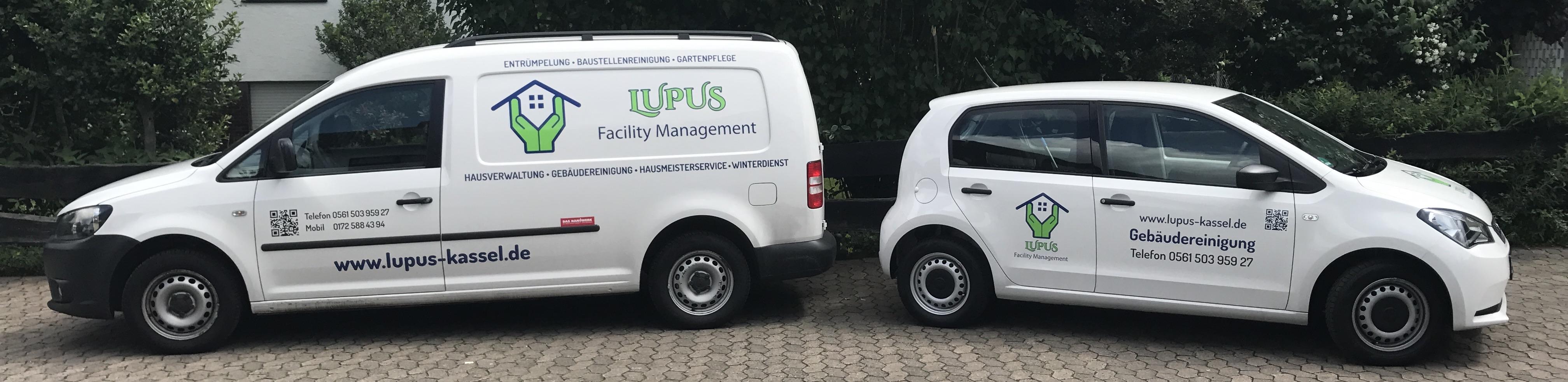 Die beiden Fahrzeuge von Lupus Facility Management